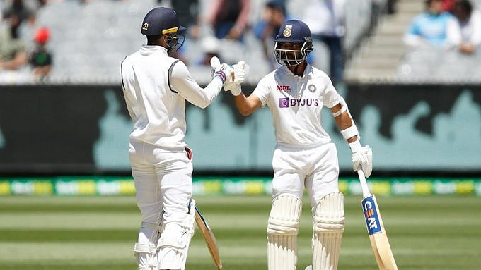 Shubman Gill and Ajinkya Rahane during the second innings at Melbourne.