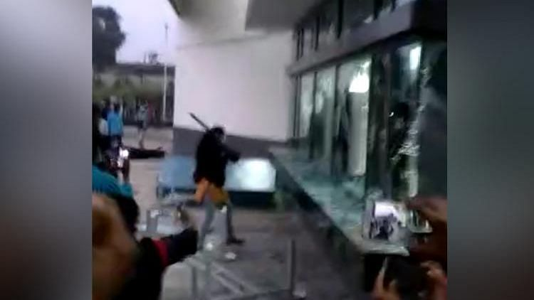 A visual from the violence at the factory.