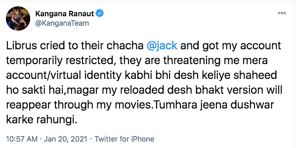 Kangana's Twitter Temporarily Restricted After Remarks on 'Tandav'