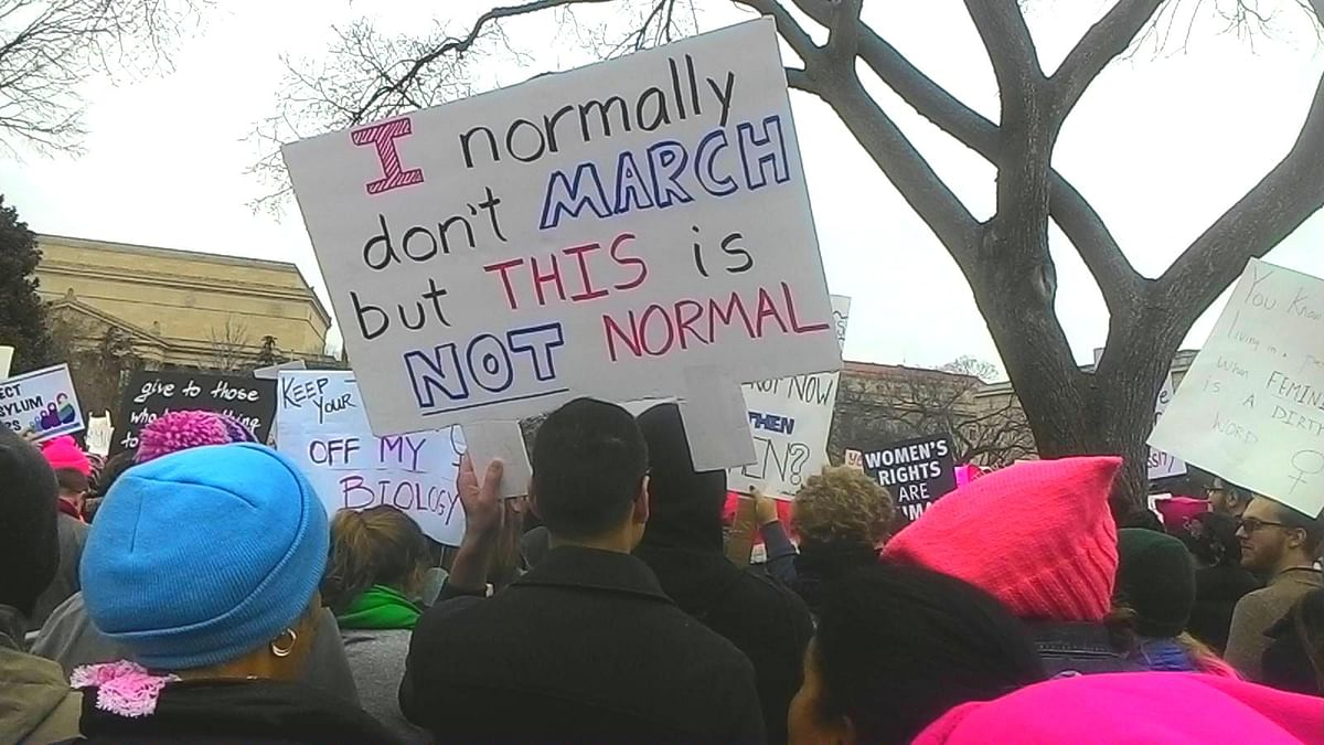 A protestor at Donald Trump's inauguration in January 2017.