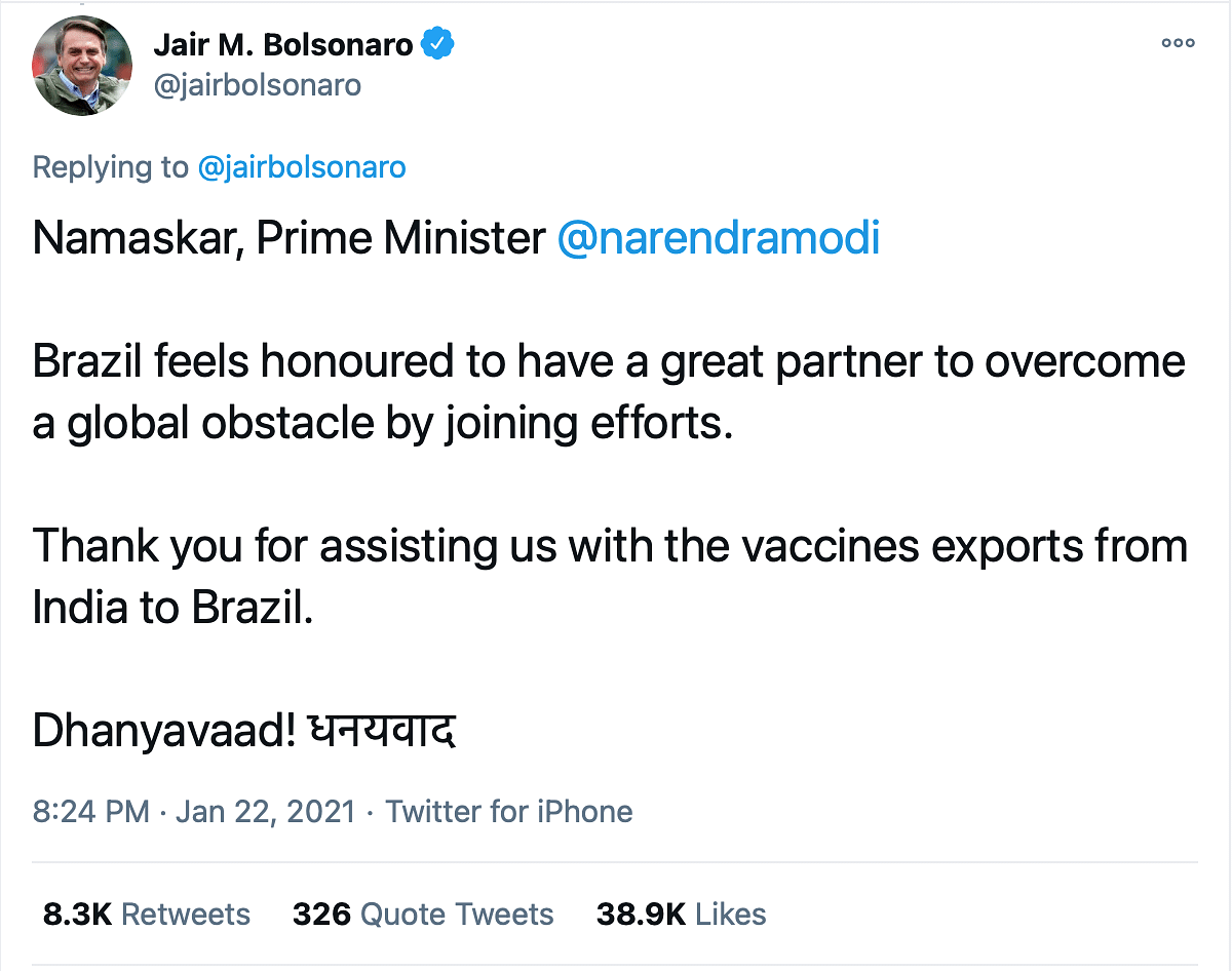 Brazilian President Thanks PM Modi for Exporting COVID Vaccine