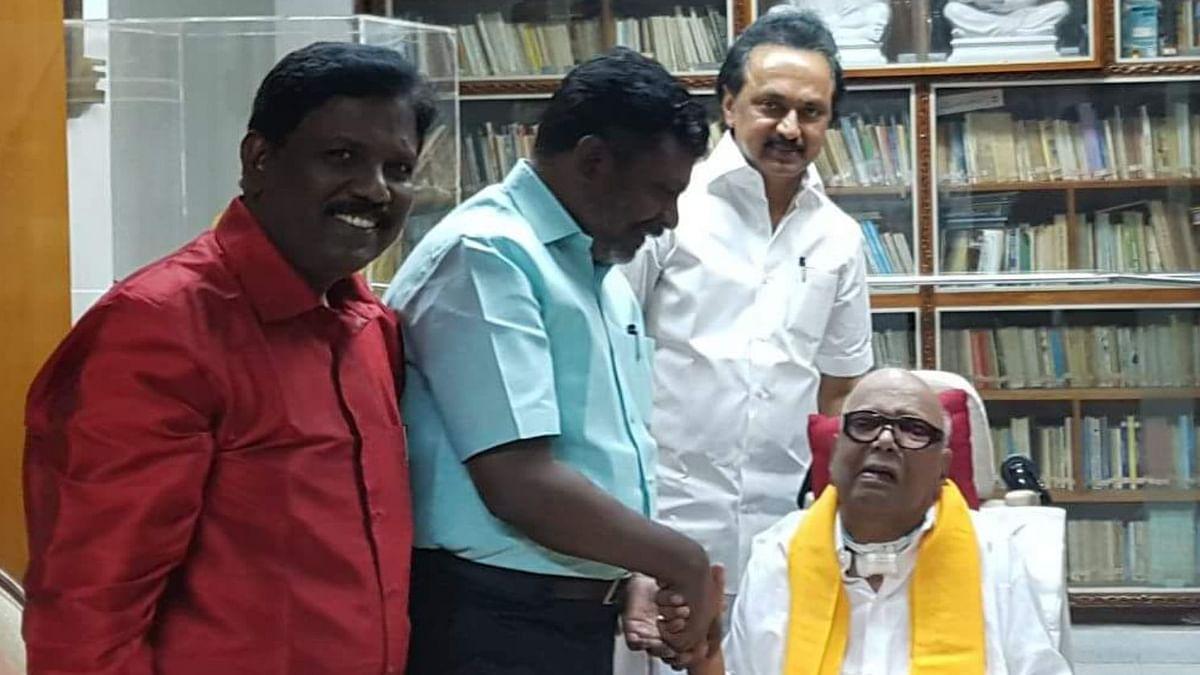 Thol. Thirumavalavan (in light blue) with DMK President MK Stalin and late DMK supremo Karunanidhi.