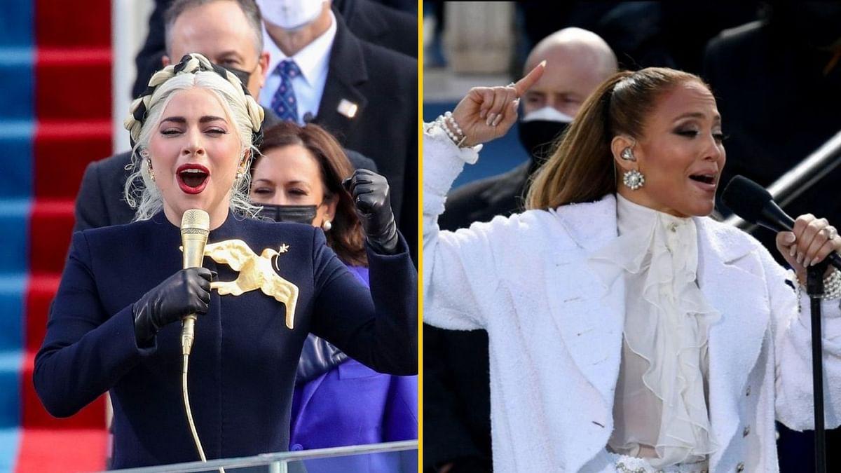 Lady Gaga and Jennifer Lopez perform at Joe Biden's inauguration.