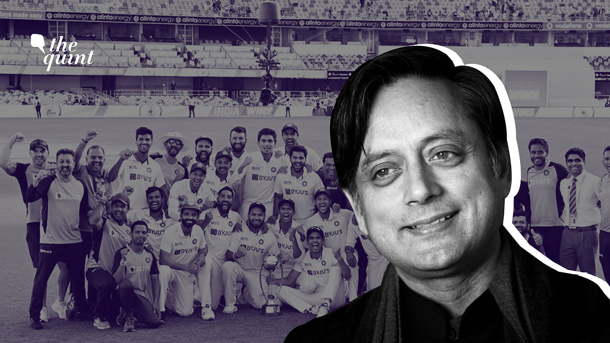 Image of Dr Shashi Tharoor, and the victorious Indian cricket team at The Gabba, Brisbane, Australia, in the background, used for representational purposes.