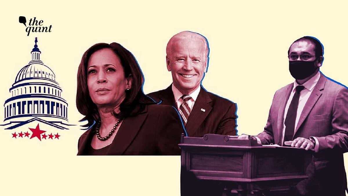 Image of VP-Elect Kamala Harris (L), President-Elect Joe Biden (Centre), General Counsel of the Democratic Party of Georgia, Sachin Varghese (R).