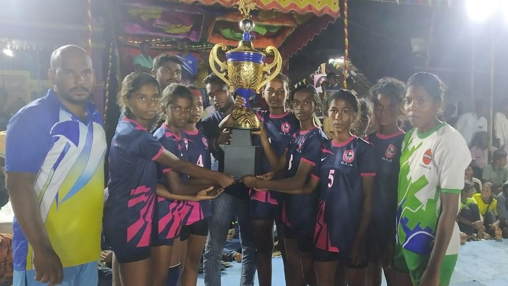 The kabaddi girls team after winning the third place in Vellore.