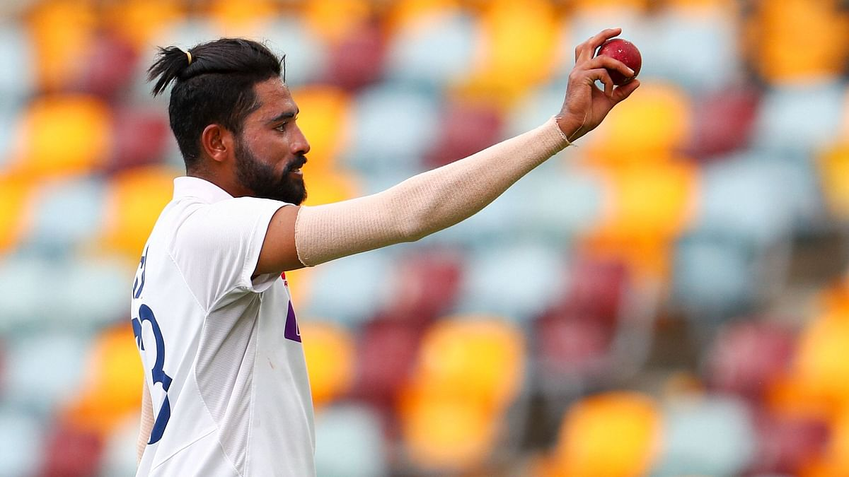 Mohammed Siraj celebrates his maiden five-wicket haul in Test cricket.