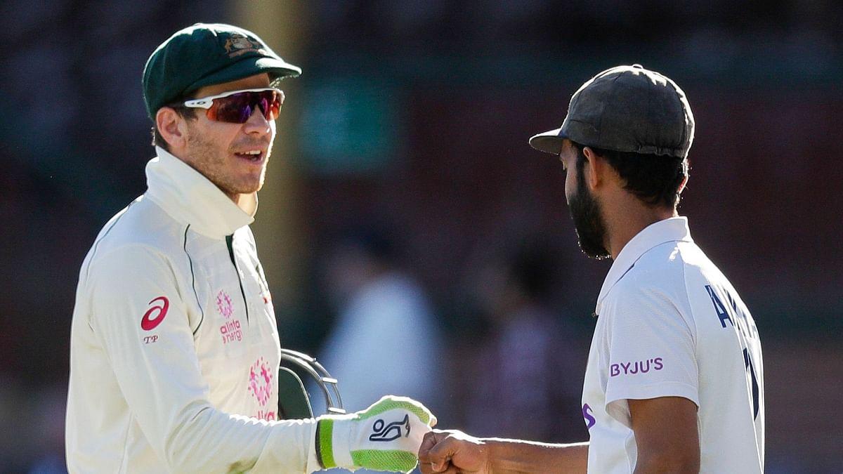 Ajinkya Rahane and Tim Paine after the Sydney Test.
