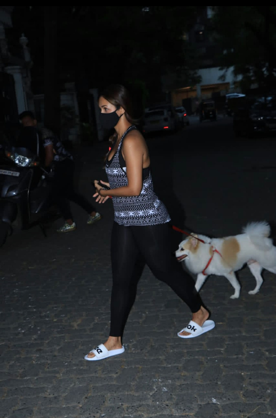 Malaika Arora takes her pooch for an evening walk.