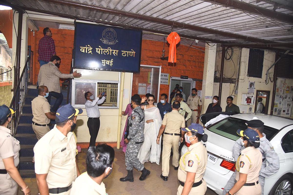 Kangana Ranaut at Bandra Police Station in Mumbai.