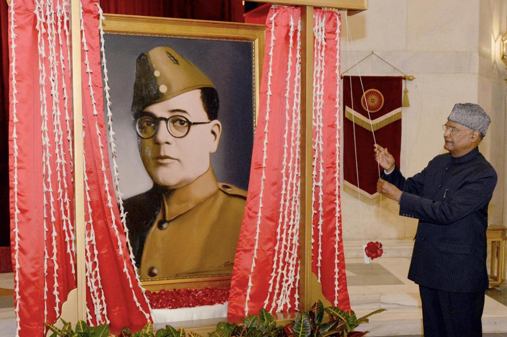 President Kovind unveiling a portrait of Netaji Subhas Chandra Bose.