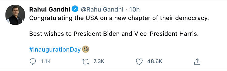 Opposition party Congress's Rahul Gandhi took to Twitter to congratulate Biden and his team.