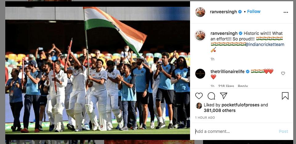 Marvellous Victory: SRK, Ranveer on Team India's Series Win in Aus