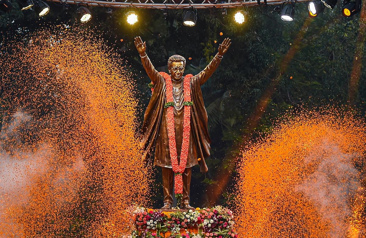 A nine-feet-tall statue of Bal Thackeray unveiled on the occasion of 95th birth anniversary of the Shiv Sena founder, in Mumbai, Saturday, 23 January 2021.
