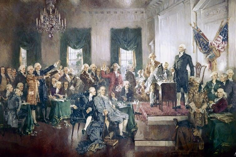 A painting depicting the Constitutional Convention of 1787.