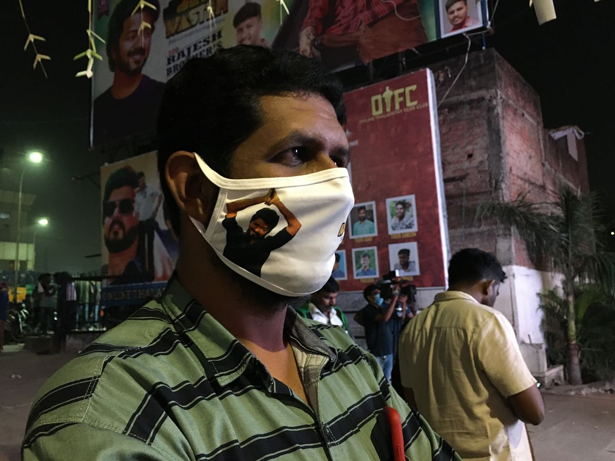 Most of them never wore masks but some sported special Vijay masks.