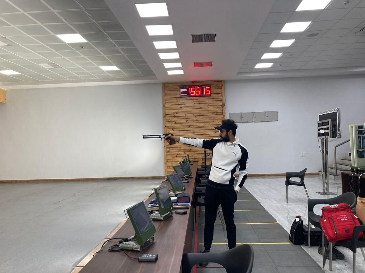 Shooter Abhishek Verma during a training session.