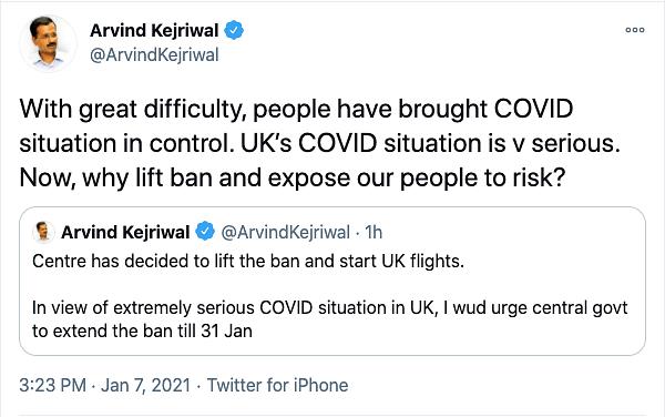Arvind Kejriwal's tweet on his plea to extend the travel ban