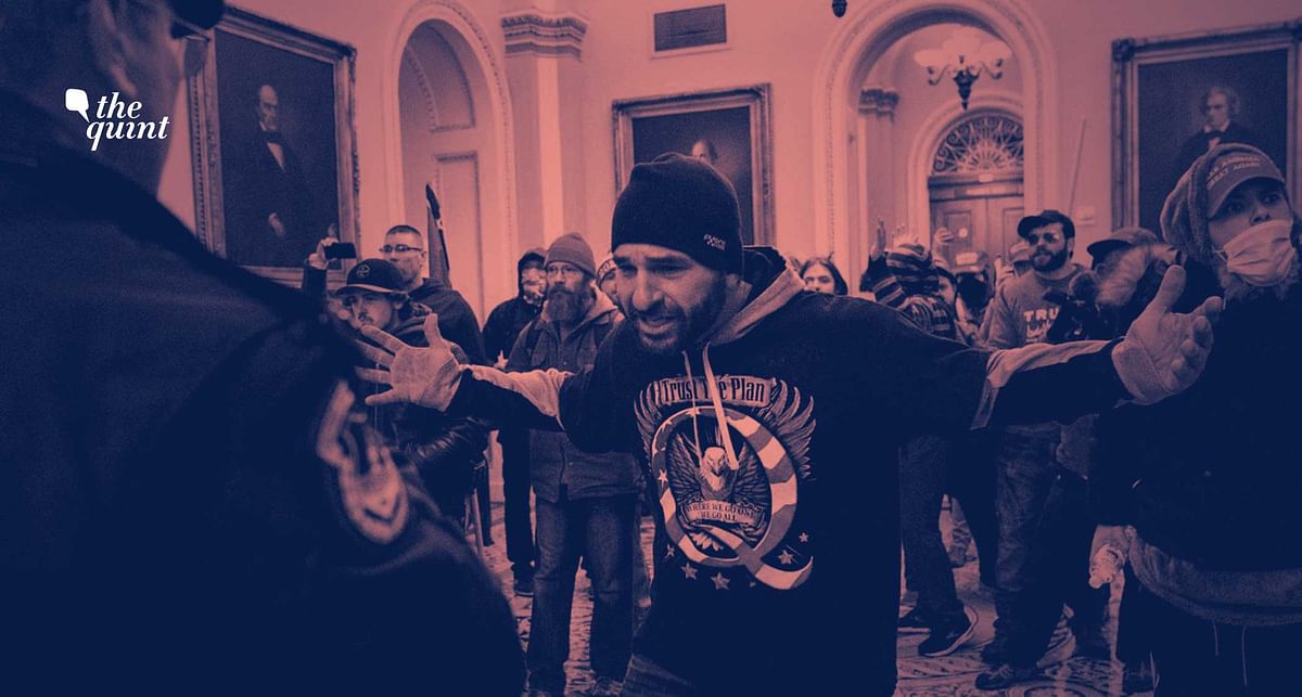 Supporters of President Donald Trump are confronted by Capitol Police officers outside the Senate Chamber at the Capitol, Wednesday, 6 January 2021 in Washington. Stylised image used for representational purposes.