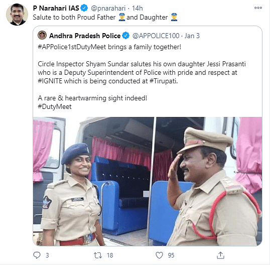 Pic of Andhra Cop Saluting His Superintendent Daughter Goes Viral