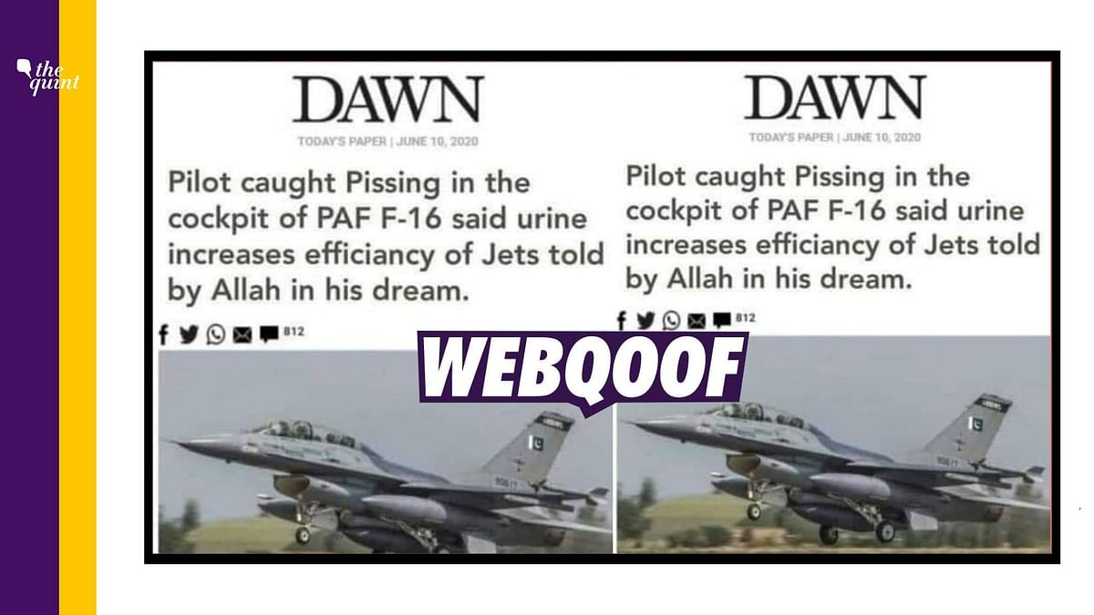 Dawn's Article on 'F-16 Pilot Urinating in Cockpit' Is Fake!