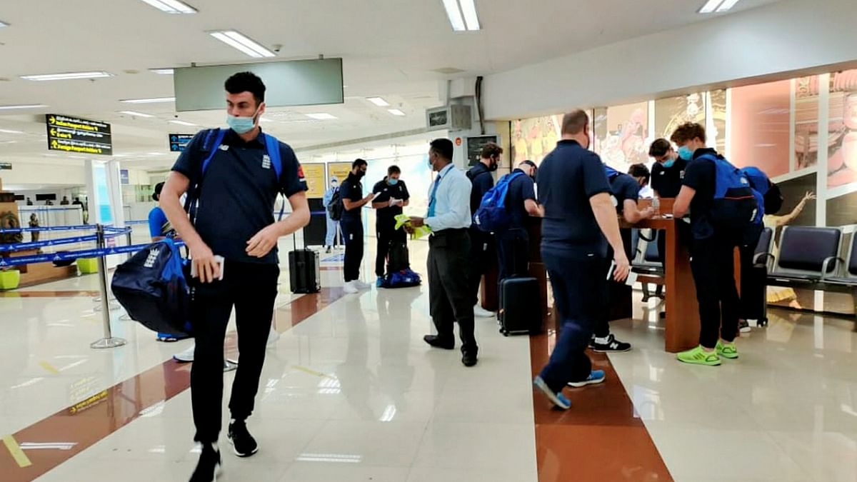 England cricket team arrives at the airport ahead of the test series against India, in Chennai, Wednesday, Jan. 27, 2021.