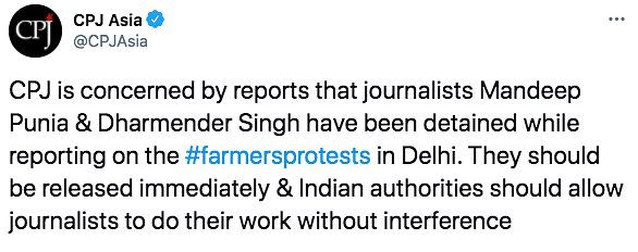 Journalist Punia, Arrested at Singhu, Sent to 14-Day Custody