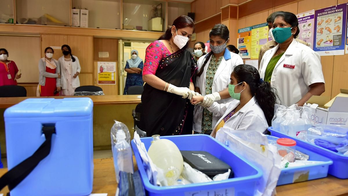 Bengaluru: A medic conducts the dry run of COVID-19 vaccine on a beneficiary, at a civil hospital in Bengaluru, Friday, 8 January 2021.