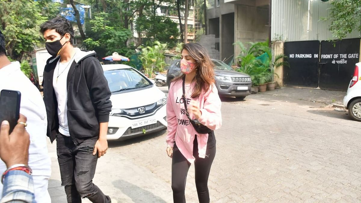 Rhea Chakraborty and her brother Showik clicked in Mumbai.