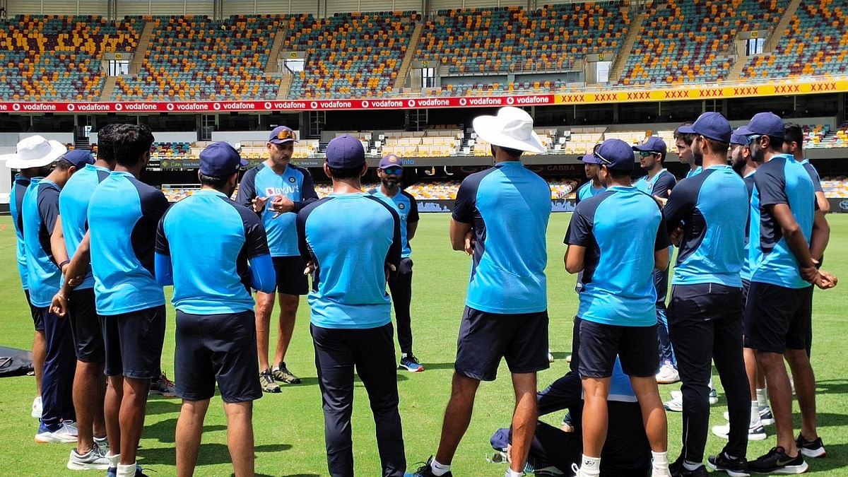 Team India during a training session at the Gabba in Brisbane.
