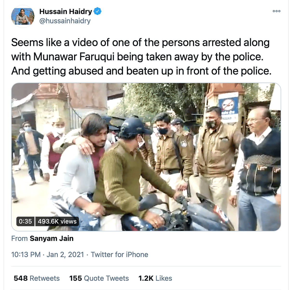 No, That's Not Comic Munawar Faruqui Being Thrashed by Cops