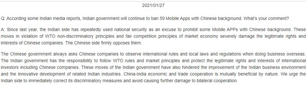 Chinese Embassy spokesperson Ji Rong put out a statement on Wednesday addressing India's ban of 59 Chinese apps.