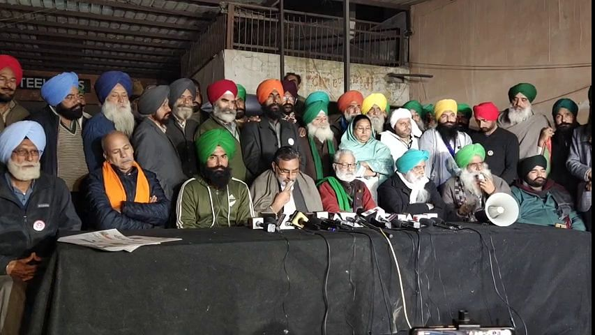 A still from the farmers' leaders press conference.