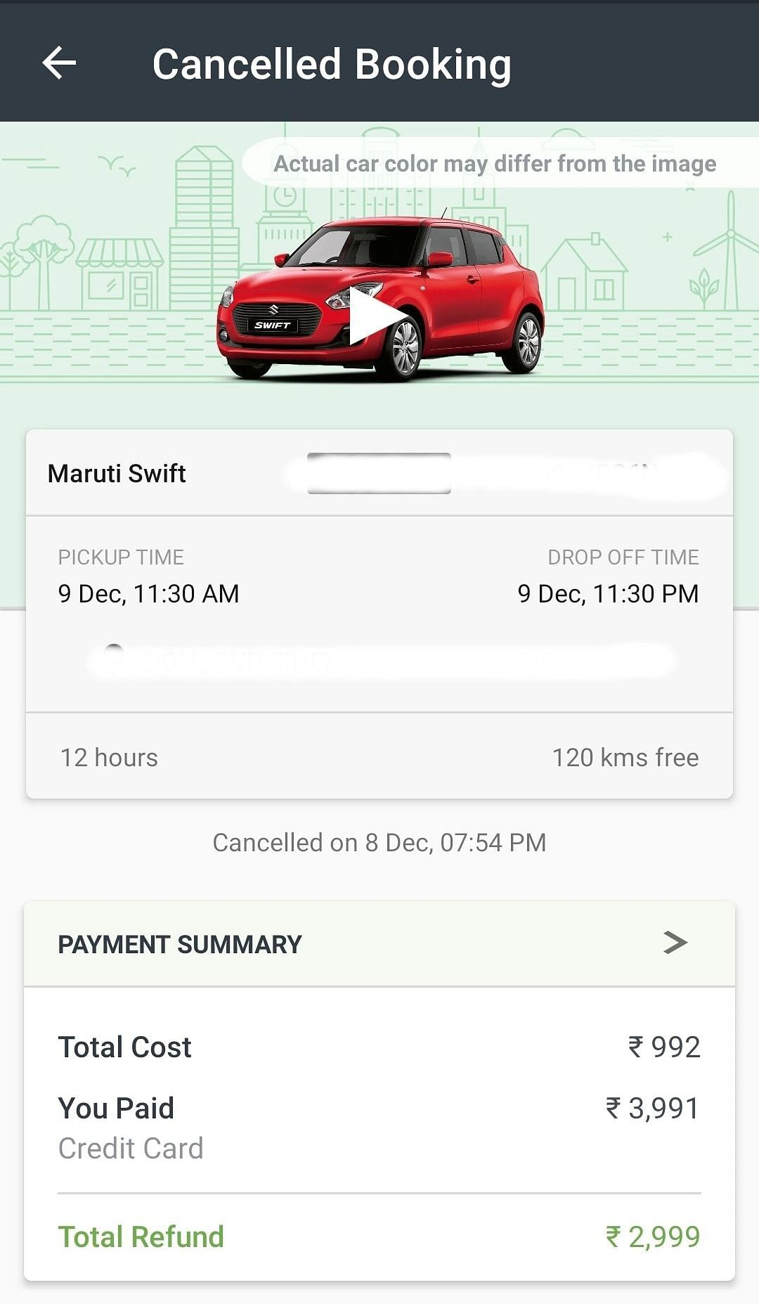 Zoomcar Booking made for 9 December.