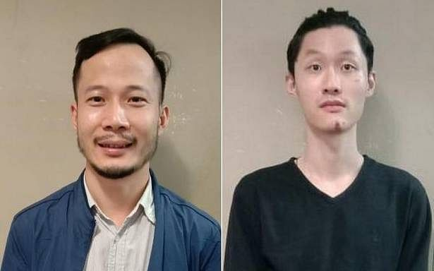 The two Chinese men arrested by Chennai Police.