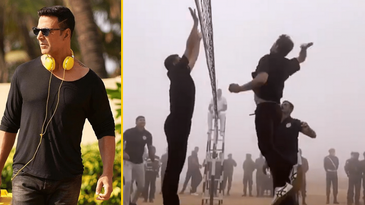 Akshay Kumar played volleyball with members of the Indian Army on Army Day.