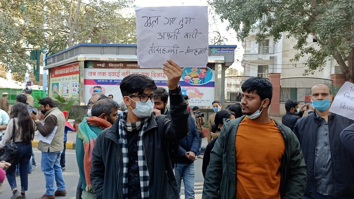 Protest outside Delhi Police HQ in New Delhi in solidarity with arrested scribe Mandeep Punia.
