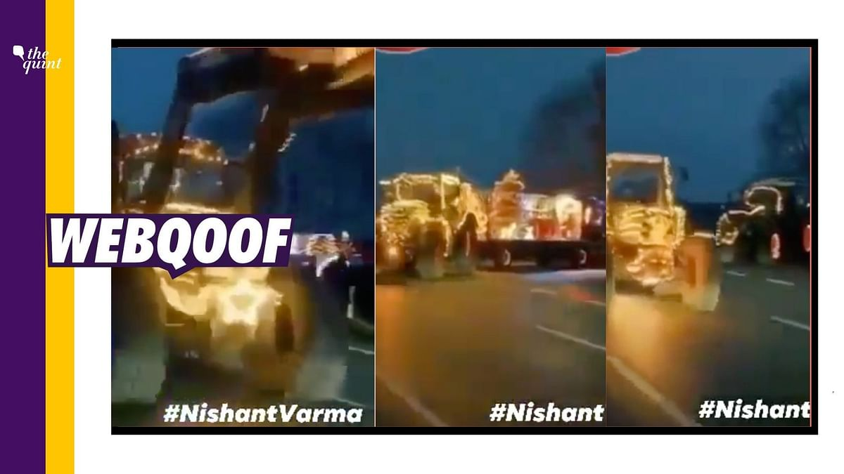 A viral video showing vehicles carrying Christmas-related decorations was falsely linked to the ongoing farmers' agitation.
