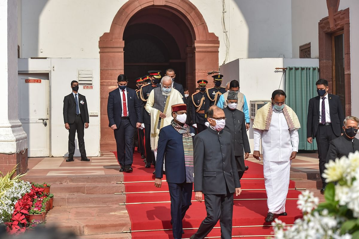 President Ram Nath Kovind accompanied by Prime Minister Narendra Modi, Vice President M Venkaiah Naidu, Lok Sabha Speaker Om Birla and other dignitaries arrives to address the Budget Session, at Central Hall of Parliament House in New Delhi, Friday, 29 January 2021