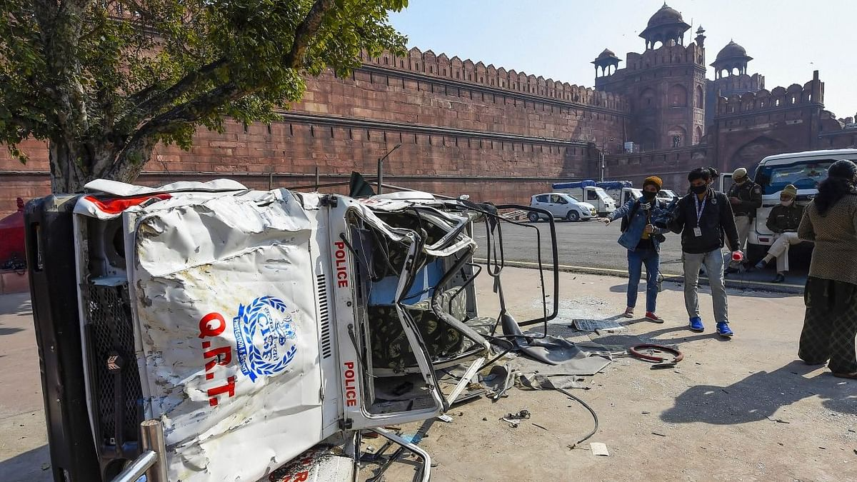 A damaged police jeep in the premises of the Red Fort.