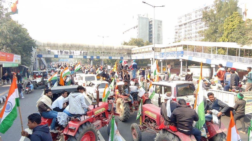 Protestors near Delhi's PWD headquarters.