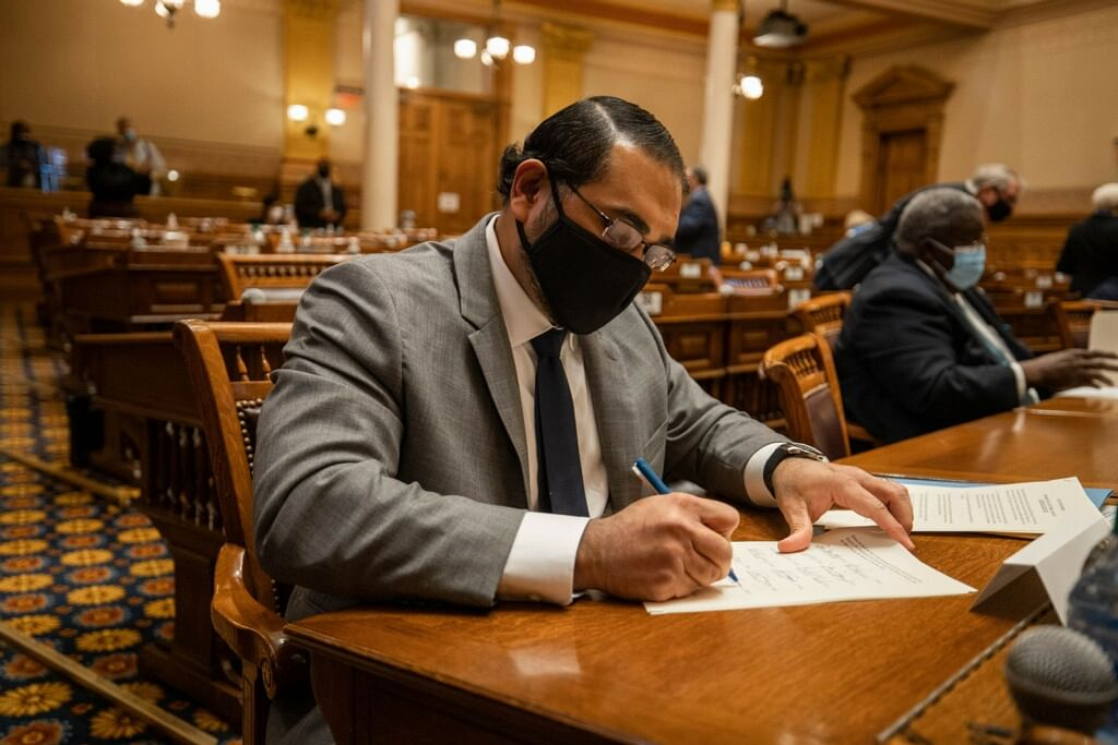 Kerala-born American lawyer Sachin Varghese — an elector during the electoral college vote in Georgia, US on 14 December.