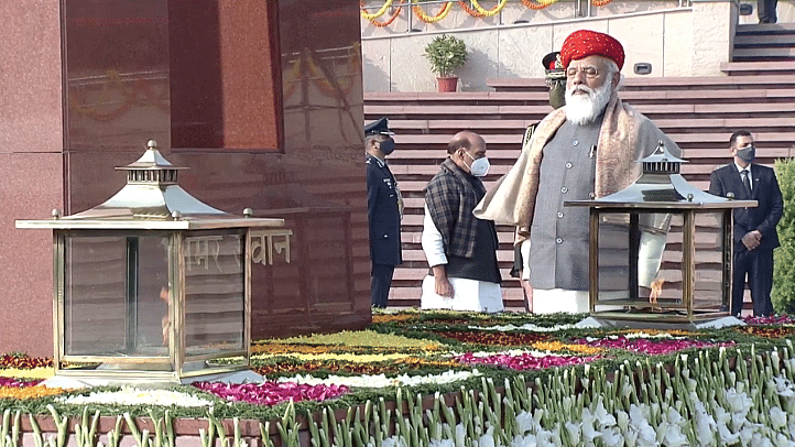 PM Modi pays tribute to martyrs at the National War Memorial as India marks 72nd Republic Day.