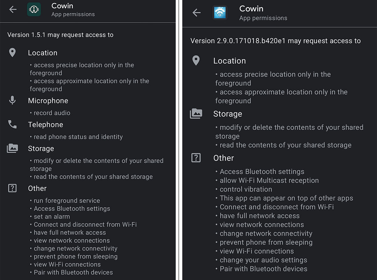 Permissions required for other Cowin apps on Google Play Store.