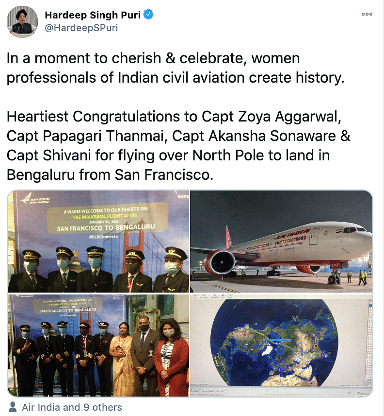Civil Aviation Minister Hardeep Puri celebrated the women's historical achievement.