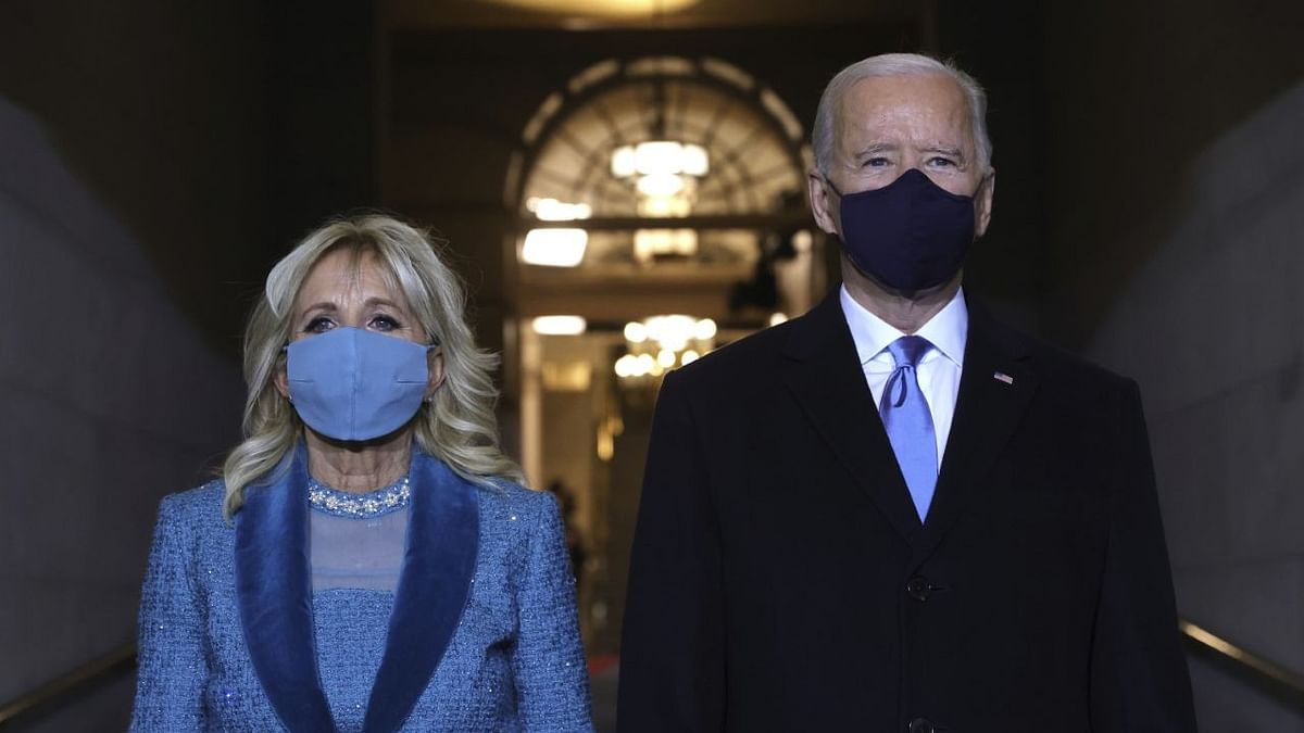 President-elect Joe Biden and Jill Biden arrive at Bidens inauguration on the West Front of the US Capitol.