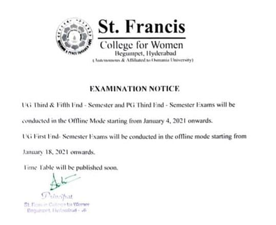 Exams for the undergraduate third and fifth semester start 4 January onwards.