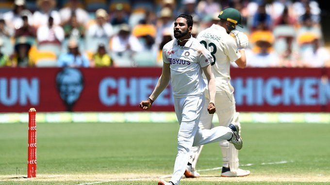 Mohammed Siraj celebrates the wicket of Marnus Labuschagne at the Gabba.
