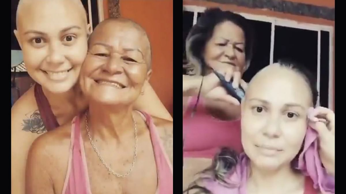 In a viral video, a mother is seen shaving her head to support her cancer-stricken daughter.