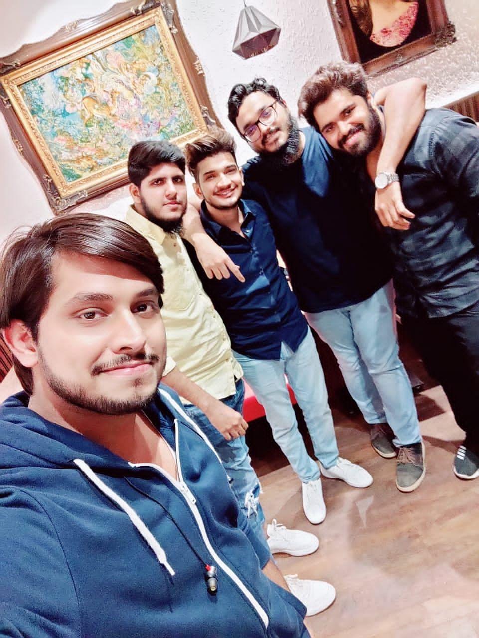 (From left) Sadakat, Abdullah, Munawar, Saad and Sagar hanging out after one of Munawar's performances in a restaurant in Mumbai.